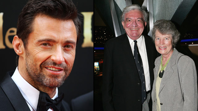 Hugh Jackman, his dad Chris Jackman and step-mother Elizabeth Jackman. foto: Woman's Day