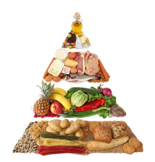 Alzhéimer: Dieta mediterránea y ejercicio mental 009876--Food pyramid isolated on white background