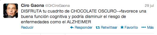 chocolate para prevenir el alzheimer. Dr. Ciro Gaona